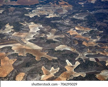 aerial of countryside and fields around madrid, spain