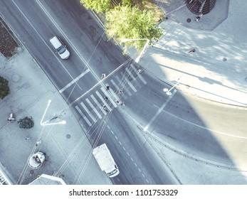 aerial crosswalk in the city top down view