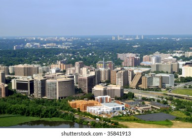 Aerial of Crystal City, an urban neighborhood in Arlington County, Virginia, Just south of downtown Washington, D.C., with Jefferson Davis Highway (US 1) between the buildings.