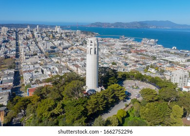 Aerial daytime view of San Francisco, California with the Golden Gate Bridge in the background.