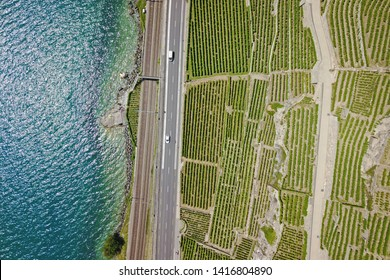 Aerial detail of Lavaux vineyards as they decend towards the Lake Geneva. Several minor roads cross the hills and the main road and railroad blend the wineyards with the lake.