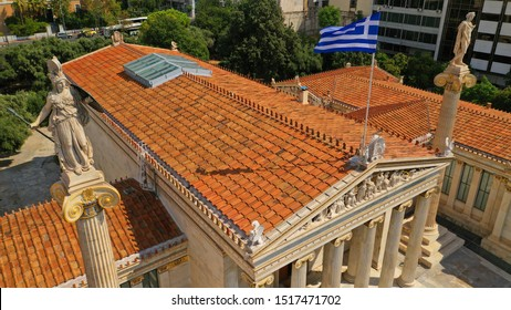Aerial detail photo of Masterpiece Academy of Athens featuring statue of Athena, Apollo above and Socrates and Plato below, in the heart of Athens, Attica, Greece