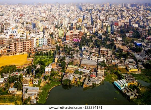 Aerial of Dhaka, the Capital of Bangladesh