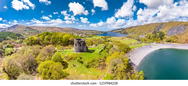 Aerial of Dolbadarn Castle at Llanberis in Snowdonia National Park in Wales - United Kingdom