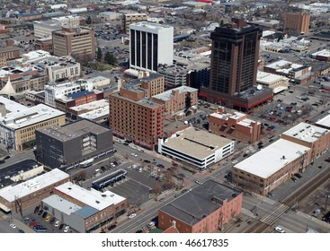 Aerial of Downtown Billings Montana in the midwestern United States.