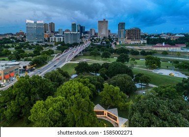 Aerial Downtown Fort Worth and 7th Street Bridge at Dusk