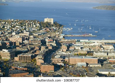 Aerial of downtown Portland, Maine showing Maine Medical Center, Commercial street, Old Port and Back Bay.