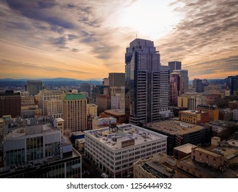Aerial of downtown Portland, winter day, amazing sky,