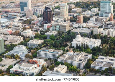 Aerial of downtown sacramento california and the state capitol building