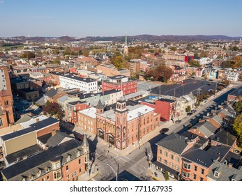 Aerial of Downtown York, Pennsylvania next to the Historic District in Royal Square