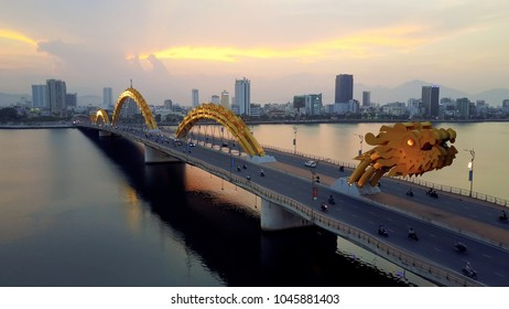 Aerial Of Dragon Bridge, Da Nang, Vietnam