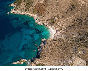 Aerial drone of beautiful bay located in Saranda, Albania (Vlora)