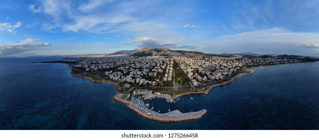 Aerial drone bird's eye panoramic view of famous seascape of Athens Riviera, Voula, Athens Riviera, Attica, Greece