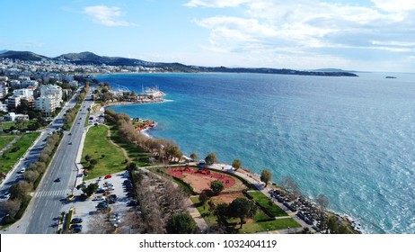 Aerial drone bird's eye view of famous seascape of Athens Riviera, Voula, Athens Riviera, Attica, Greece