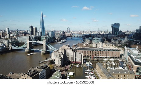 Aerial drone bird's eye view of iconic skyline in City of London, United Kingdom