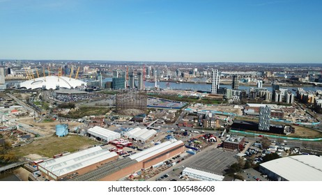 Aerial drone bird's eye view from iconic O2 Arena near isle of Dogs as seen from Greenwich, London, United Kingdom