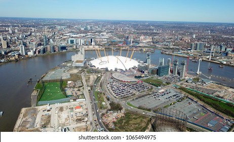 Aerial drone bird's eye view of iconic concert Hall of O2 Arena, London, United Kingdom