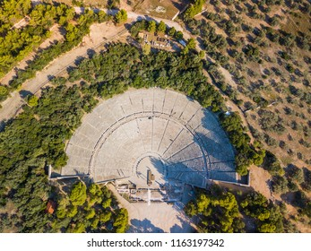 Aerial drone bird's eye view photo of Ancient amphitheater of Epidaurus at Peloponnese, Greece