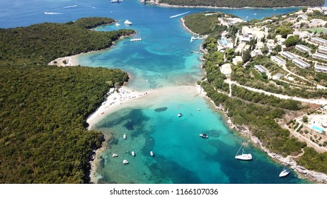Aerial drone bird's eye view photo of popular and iconic turquoise bay of Sivota forming a blue lagoon, Epirus, Greece