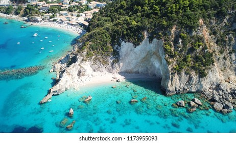 Aerial drone bird's eye view photo of small rocky beach next to iconic beach of Milos and Agios Nikitas in island of Lefkada, Ionian, Greece