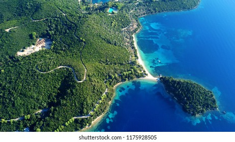 Aerial drone bird's eye view panoramic photo of iconic island of Skorpios that was owned by Aristotle Onasis, Lefkada island, Ionian, Greece