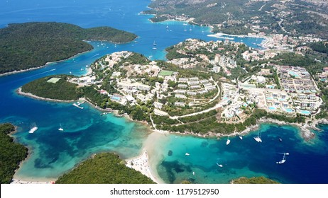Aerial drone bird's eye view photo of famous village and port in bay of Sivota, Epirus, Greece