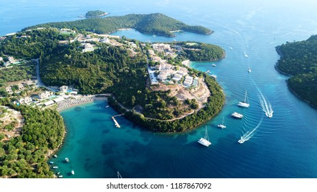 Aerial drone bird's eye view photo of iconic paradise sandy beaches with turquoise sea in complex islands of Agios Nikolaos and Mourtos in Sivota area, Ionian sea, Epirus, Greece