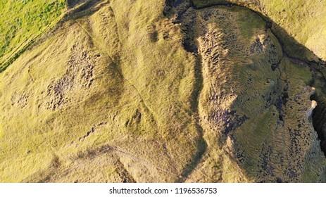 Aerial drone bird's eye view of fields in Iceland