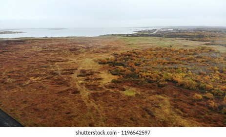 Aerial drone birds eye view of Icelandic landscape in early fall in Iceland
