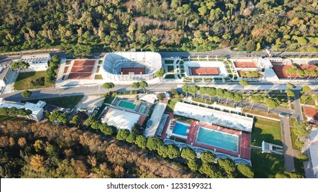 Aerial drone bird's eye view photo of iconic sports complex of Foro Italico featuring famous Obelisk of Mussolini, Rome, Italy