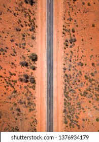 Aerial Drone Bird's eye view on a scenic highway in the outback of South Australia
