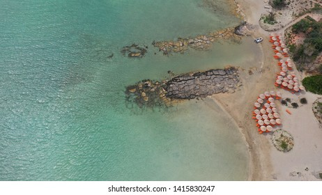 Aerial drone bird's eye view of tropical exotic mediterranean bay with turquoise sea