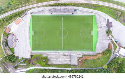 aerial drone bird's eye view of football field in basilicata