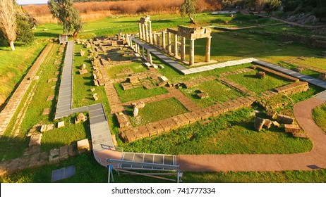 Aerial drone bird's eye view of iconic Temple of Artemis in archaeological site of Vravrona or Brauron, Attica, Greece