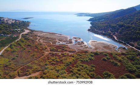 Aerial drone bird's eye view of famous wetland at Vravrona, Attica, Mesogeia, Greece