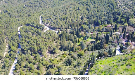 Aerial drone bird's view of famous Hymmetus mountain and Kessariani monastery, Athens, Attica, Greece
