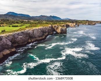 Aerial drone cliff landscape, Llanes Asturias, norhern Spain
