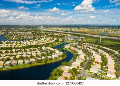 Aerial drone footage of residential homes in the City of Pembroke Pines Florida USA