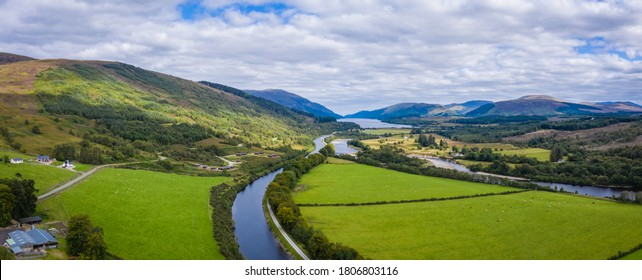aerial drone footage of summer in gairlochy near fort william on the caledonian canal in the argyll region of the highlands of scotland showing the mountains of glencoe and the surrounding region