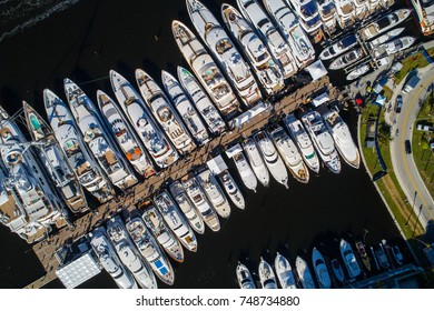 Aerial drone image of the 2017 fort lauderdale boat show