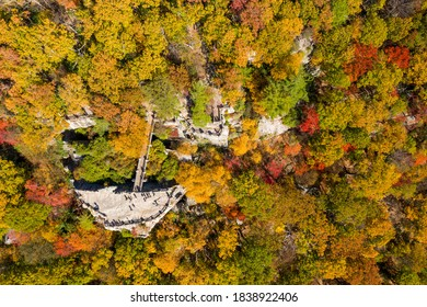 Aerial drone image above the Coopers Rock state park overlook over the Cheat River valley in the autumn looking towards Cheat Lake near Morgantown, WV