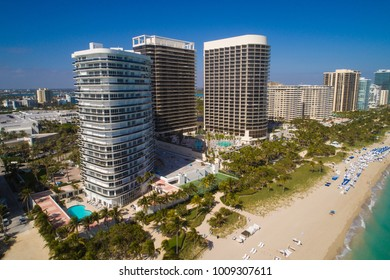 Aerial drone image of Bal Harbour Florida beachfront condominiums