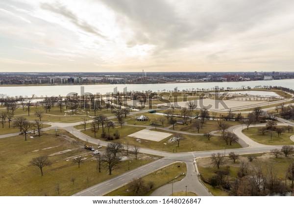 Image de drone aérien Belle Isle Detroit Michigan