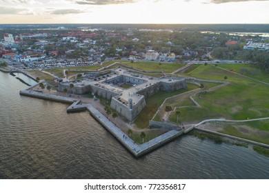 Aerial drone image of Castillo De San Marcos Florida
