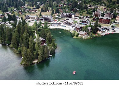 Aerial drone image of Champex Lac in Valais, Switzerland