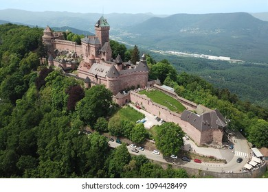 Aerial drone image of Chateau de Haut-Koenigsbourg in Alsace, France.