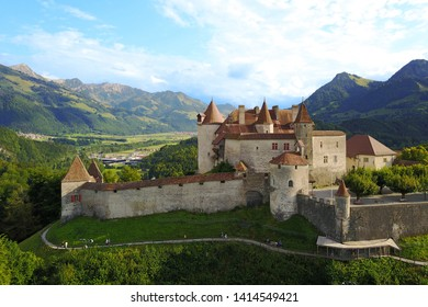 Aerial drone image of Chateau de Gruyere in Fribourg canton of Switzerland.