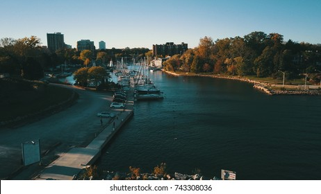 Aerial drone image of a city harbor.