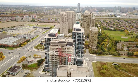 Aerial Drone image of a cityscape in Mississauga, Ontario, Canada.  This is the outskirts of Toronto.