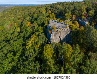 Aerial drone image of the Coopers Rock state park overlook over the Cheat River valley in the autumn looking towards Cheat Lake near Morgantown, WV